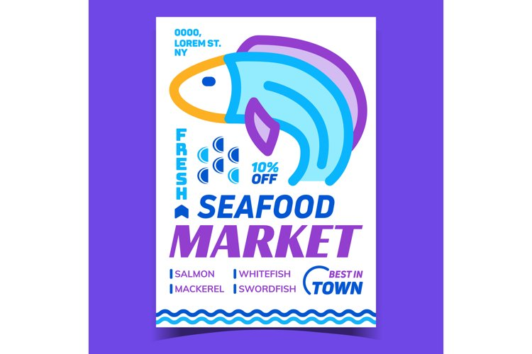 Seafood Market Creative Advertising Banner Vector example image 1