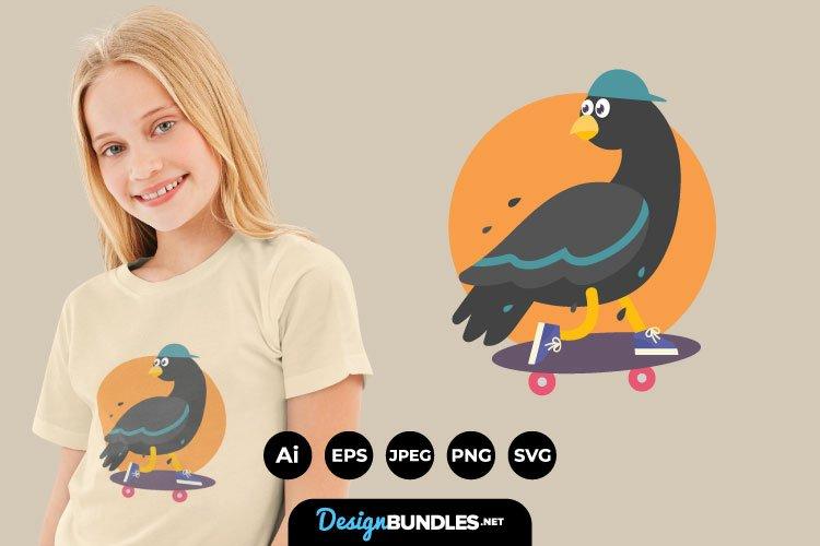Pigeons Skateboarding for T-Shirt Design example image 1