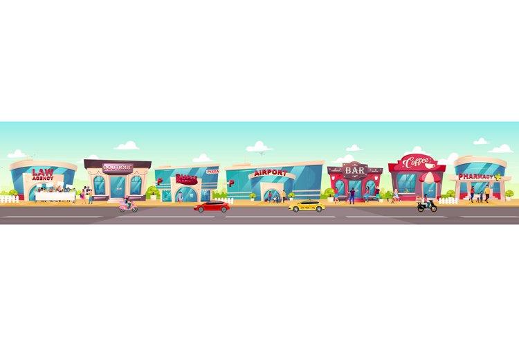 City sidewalk flat color vector illustration example image 1