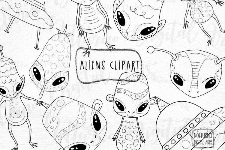 SVG Alien Clipart. Space clipart. Set of 10 aliens clip art