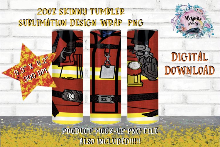 20oz| Yellow | Red Firefighter | Sublimation Tumbler Wrap| example image 1