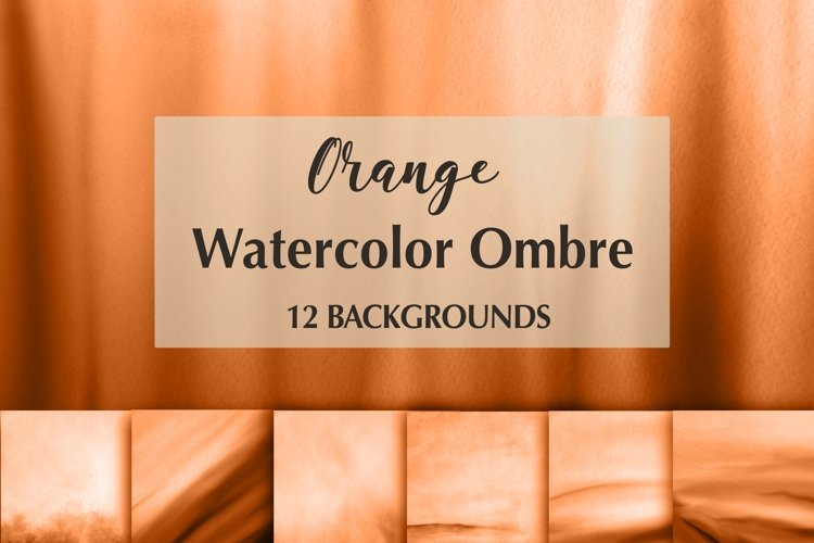 12 Orange Watercolor Ombre Backgrounds example image 1
