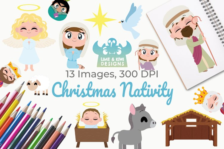 Christmas Nativity Clipart, Instant Download Vector Art