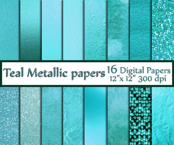 Teal Digital Paper example image 1