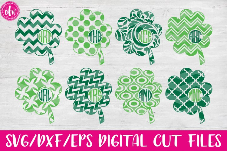 Patterned Monogram Clovers - SVG, DXF, EPS Cut Files example image 1