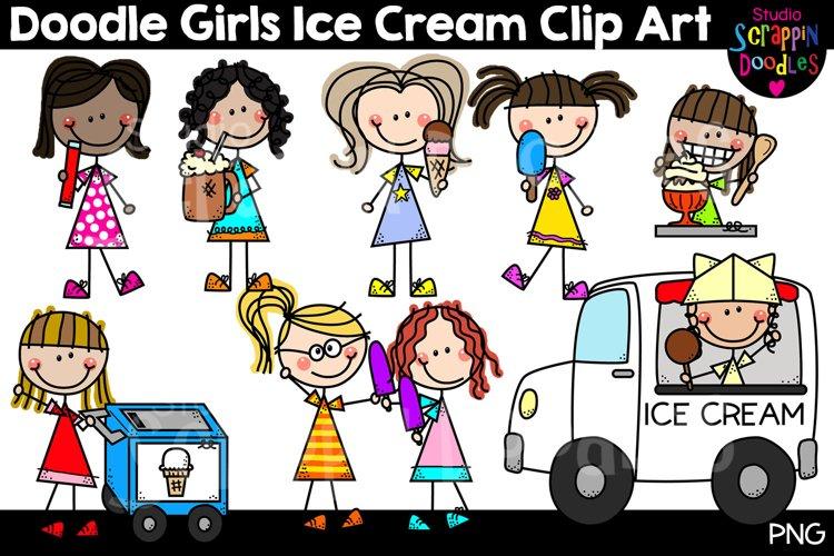 Doodle Girls Ice Cream Clip Art - Cute Stick Figure Kids