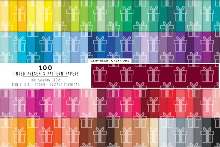100 Presents Pattern Digital Papers - rainbow colors example image 1