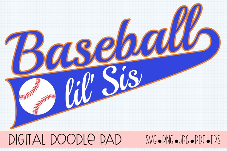 Baseball lil' Sis SVG | Silhouette and Cricut Cut File example image 1