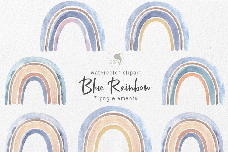 Blue rainbow watercolor