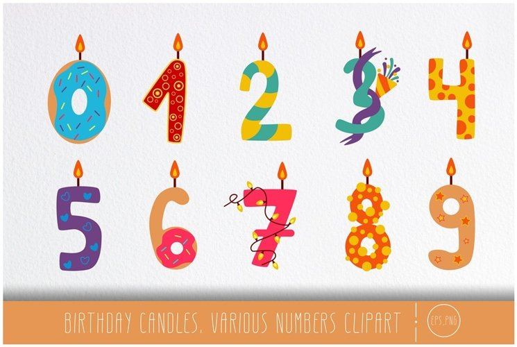 Birthday candles. Various numbers clipart example image 1