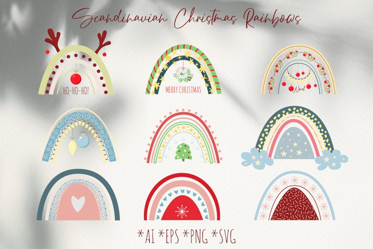 Cute Scandinavian Christmas Rainbows set in SVG, PNG, EPS