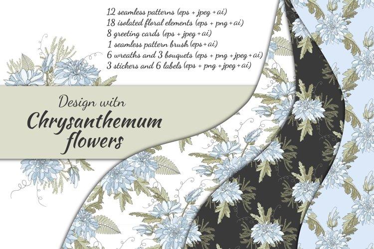 Design with chrysanthemum flowers. example image 1
