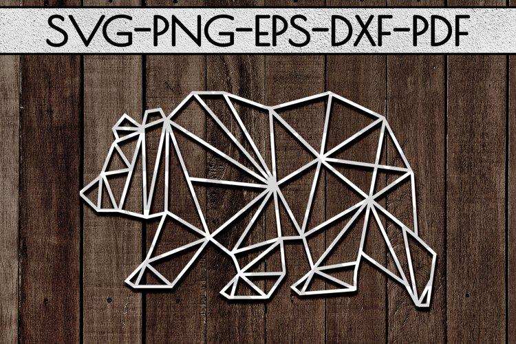 Geometric Bear SVG Cutting File, Nursery Papercut, DXF, PDF example image 1