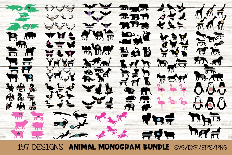 Animal Monogram SVG Bundle, 29 Packs in SVG, DXF, PNG, EPS example image 1