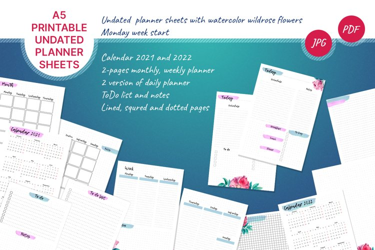 Undated printable planner sheets with watercolor flower A5