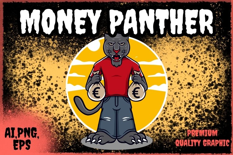 panther character design with money example image 1