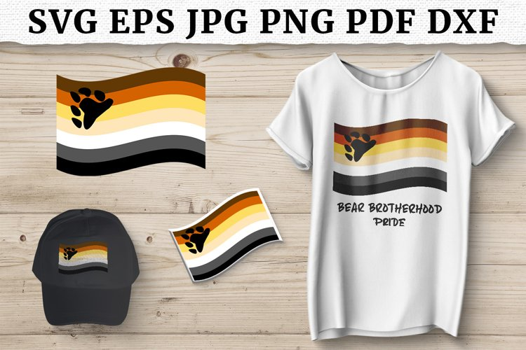 LGBT BEAR BROTHERHOOD PRIDE FLAG SVG, Sublimation Design example image 1