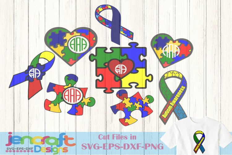 Autism svg Puzzle Bundle, Autism Awareness Monogram Frames example image 1