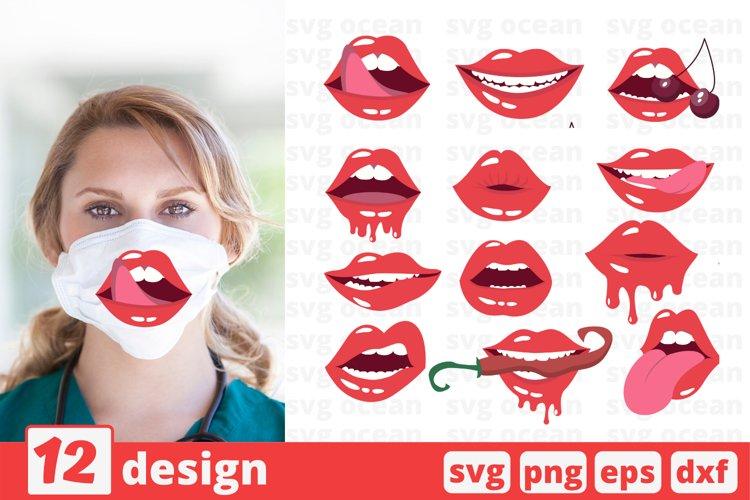 12 LIPS FACE MASK svg pattern, lips cricut svg vector