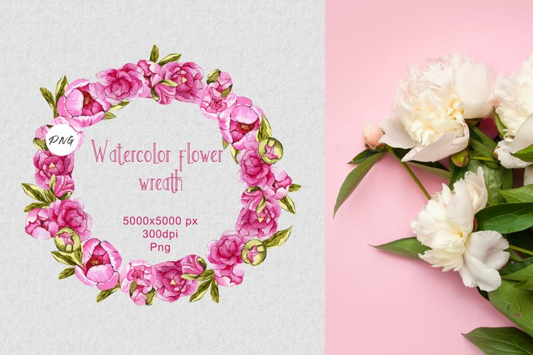 Watercolor flower frame PNG example image 1