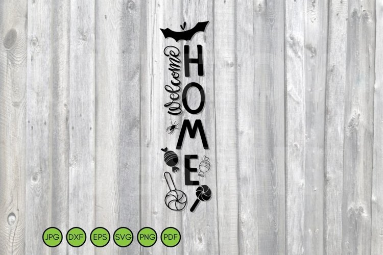 Halloween vertical sign svg png dxf eps. Porch Welcome Sign example image 1