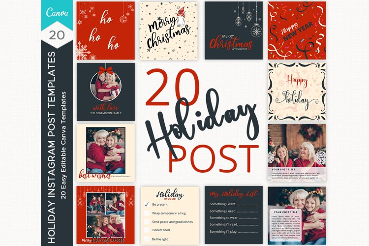 Holiday Instagram Post Templates, Christmas instagram post