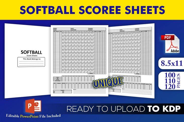 Softball Score Sheets Book | KDP Interior Template Editable example image 1