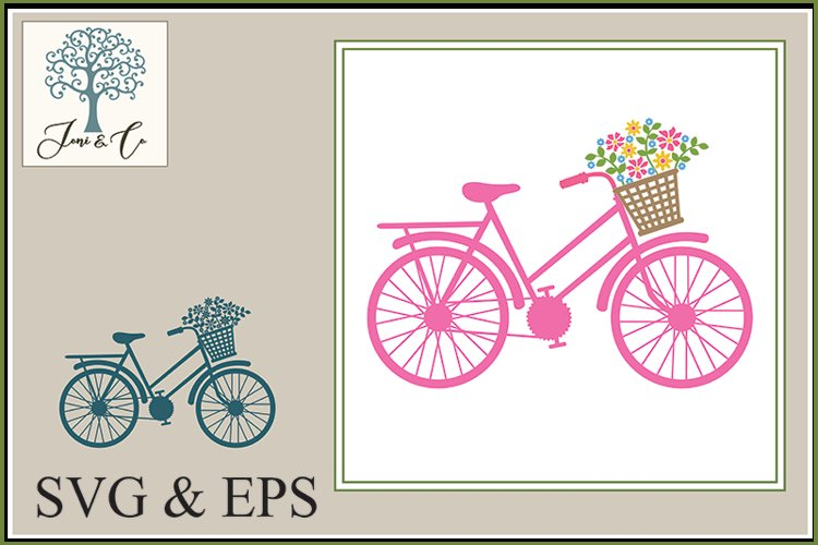 Bicycle with Flower Basket - Pink