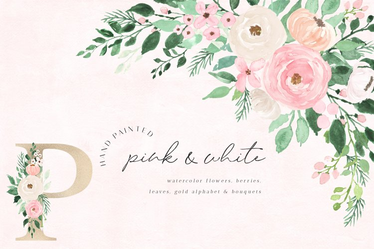 Pink & White Watercolor Flowers