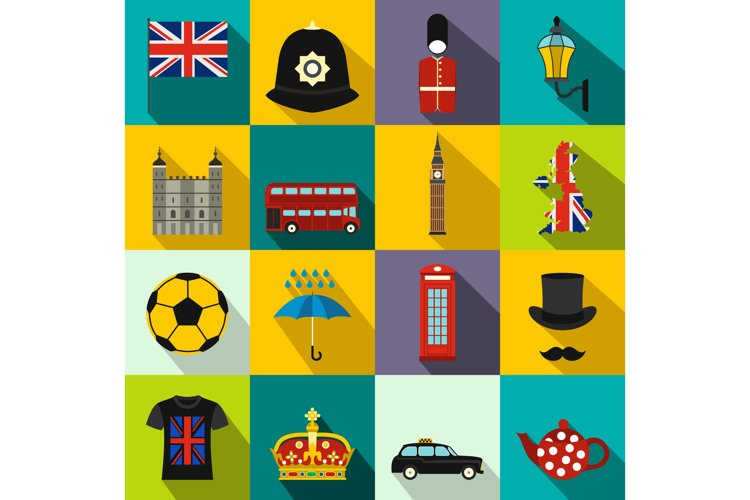 Great Britain icons set, flat style example image 1
