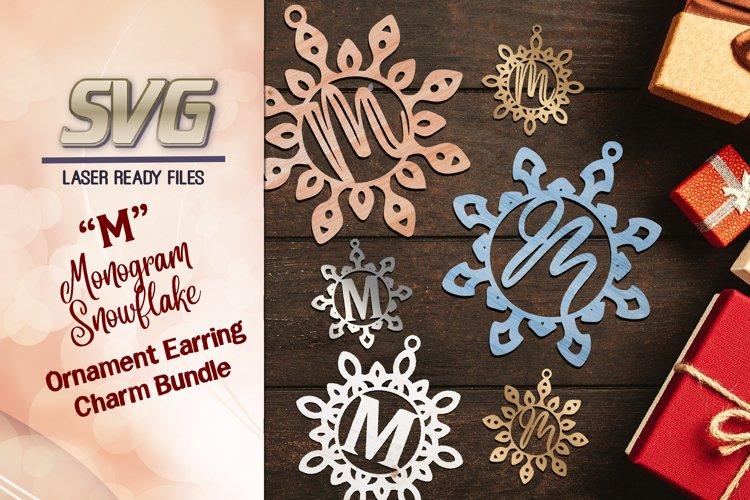 "Monogram Snowflake Earrings Ornament SVG Glowforge Files ""M"" example image 1"