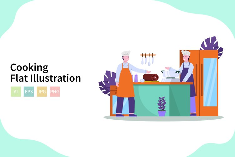 Cooking Vector Illustration In Flat Modern Style example image 1