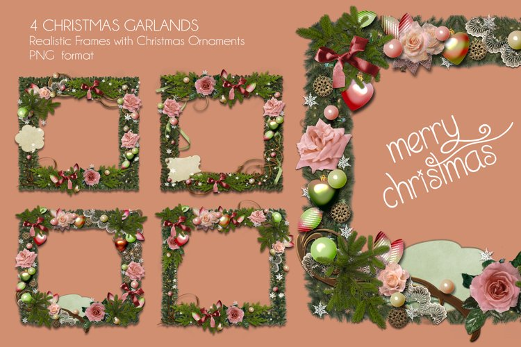 Four Christmas Garland Frames PNG