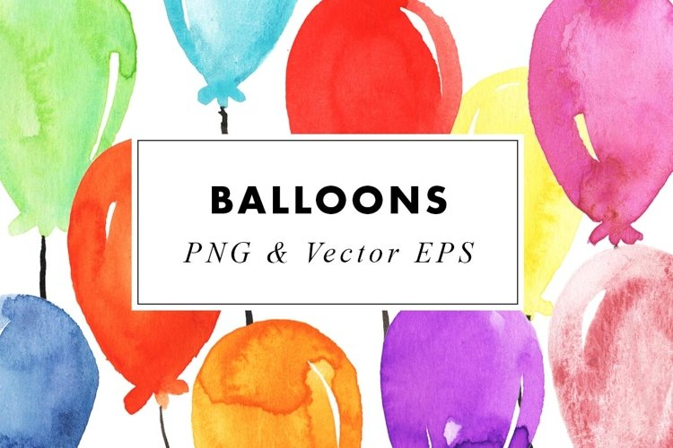 Watercolor Balloons Party Illustrations Clip Art PNG & EPS example image 1