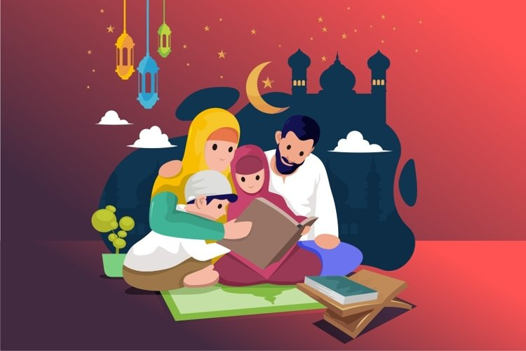 Vector of a Happy Muslim Family Learning the Quran