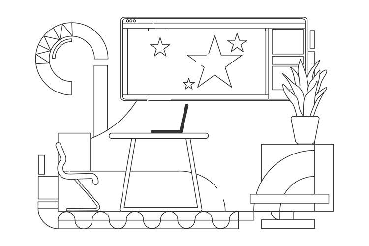 Team leader modern workplace outline vector illustration example image 1