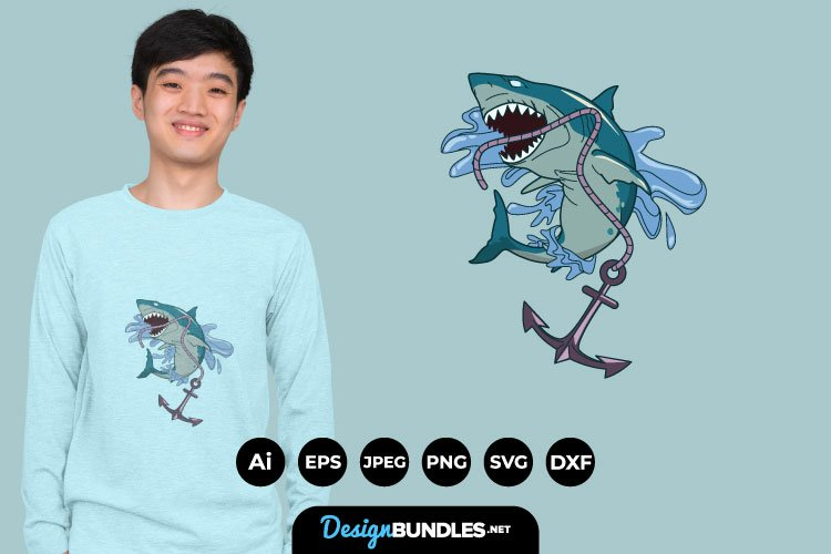 Shark and Anchor for T-Shirt Design example image 1