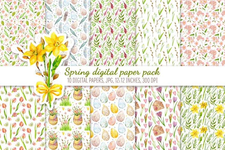 Digital Scrapbook Paper Pack. Spring floral set example image 1