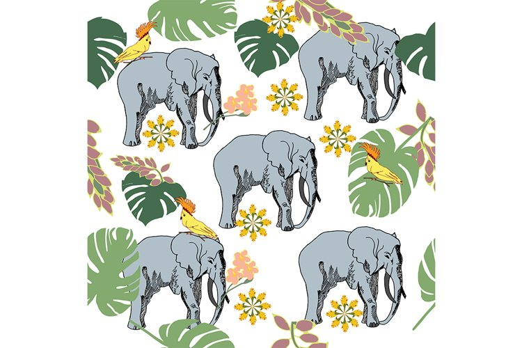 Vector seamless pattern with elephants in the jungle. example image 1