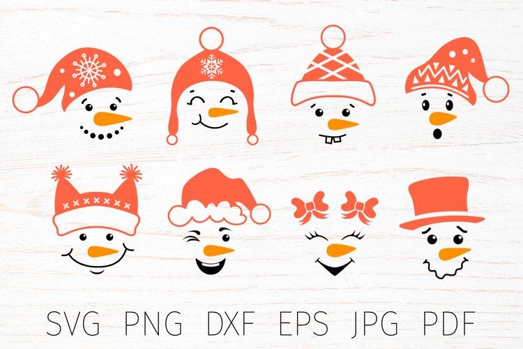Snowman faces, snowman face svg bundle, christmas svg bundle example image 1