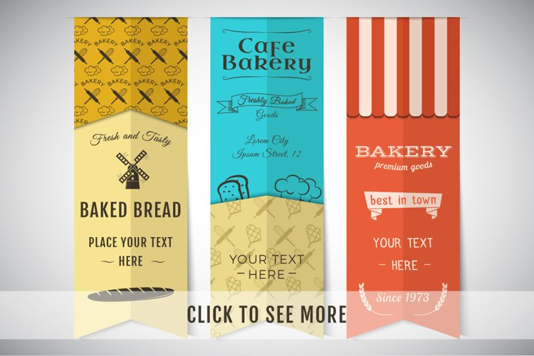Bakery Banners & Seamless Patterns example