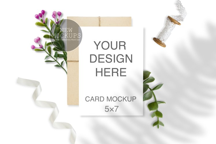5x7 Wedding Card Mockup, Invitation Mockup with Envelope