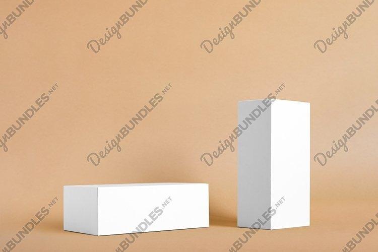 Minimal boxes, geometric podium on beige background example image 1