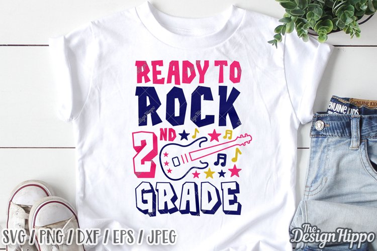 Ready To Rock 2nd Grade, Second Grade SVG DXF PNG Cut Files example image 1