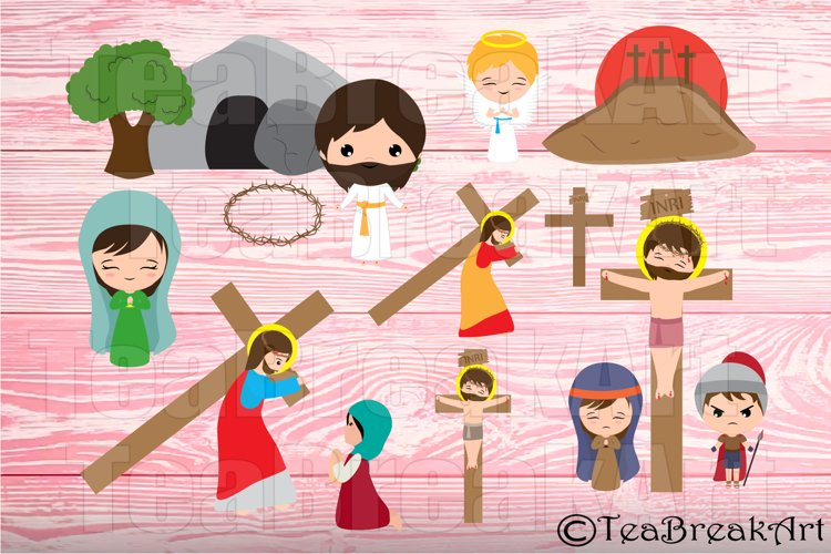 Parts of Way of the Cross and The Resurrection Clipart Set 2  (016)