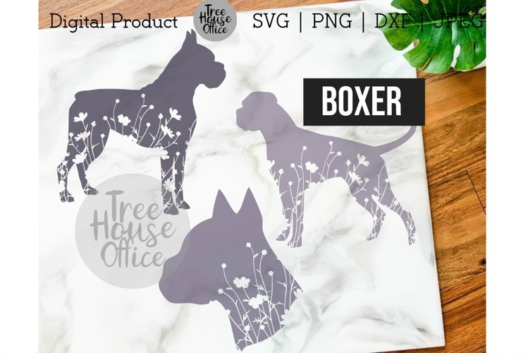 Boxer Floral SVG, Cute Boxer Dog Clipart with Flowers JPEG example image 1