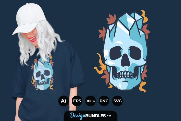 Floral Skull And Crystal for T-Shirt Design example image 1