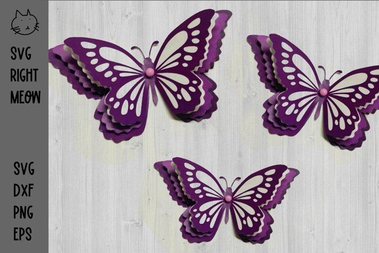 Butterfly Layered SVG 3D Butterfly Cutting File