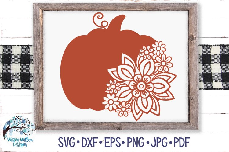 Floral Pumpkin SVG | Fall Pumpkin with Flowers SVG example image 1