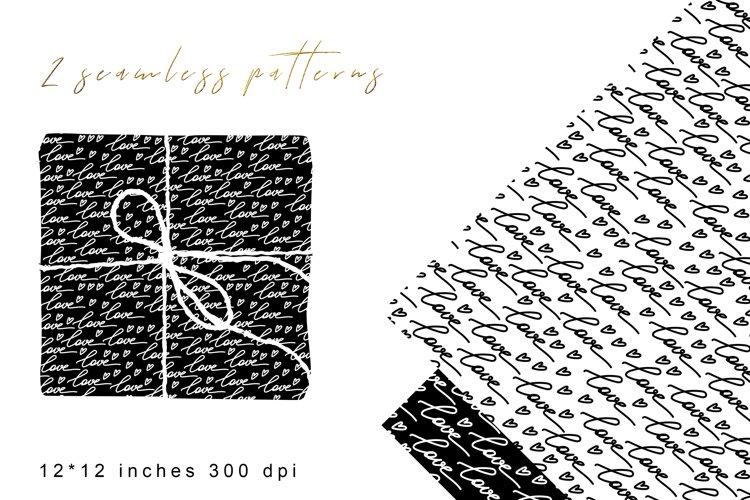 Love Black White Digital Paper. Valentines Digital Paper. example image 1